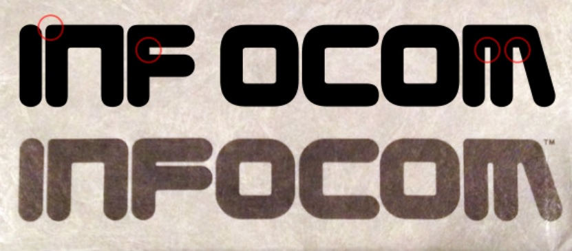 Screenshot showing differences between Zorque font and Infocom's actual logo.