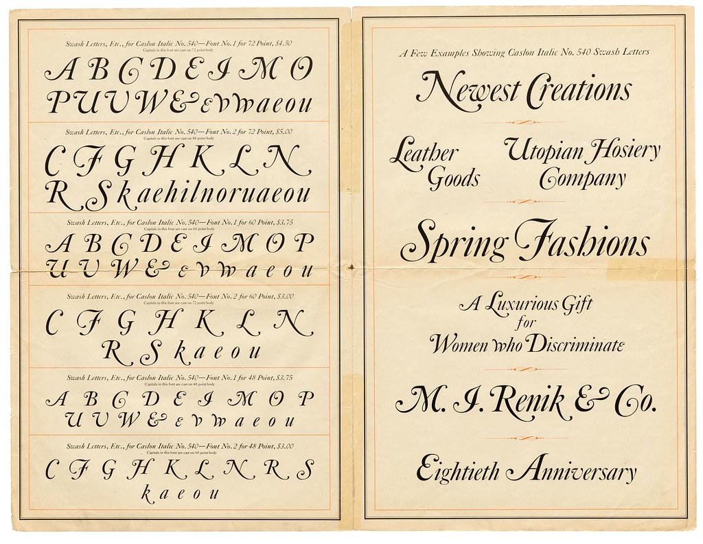 Caslon No. 540 Italic, ATF, ca. 1905 (1 of 2)