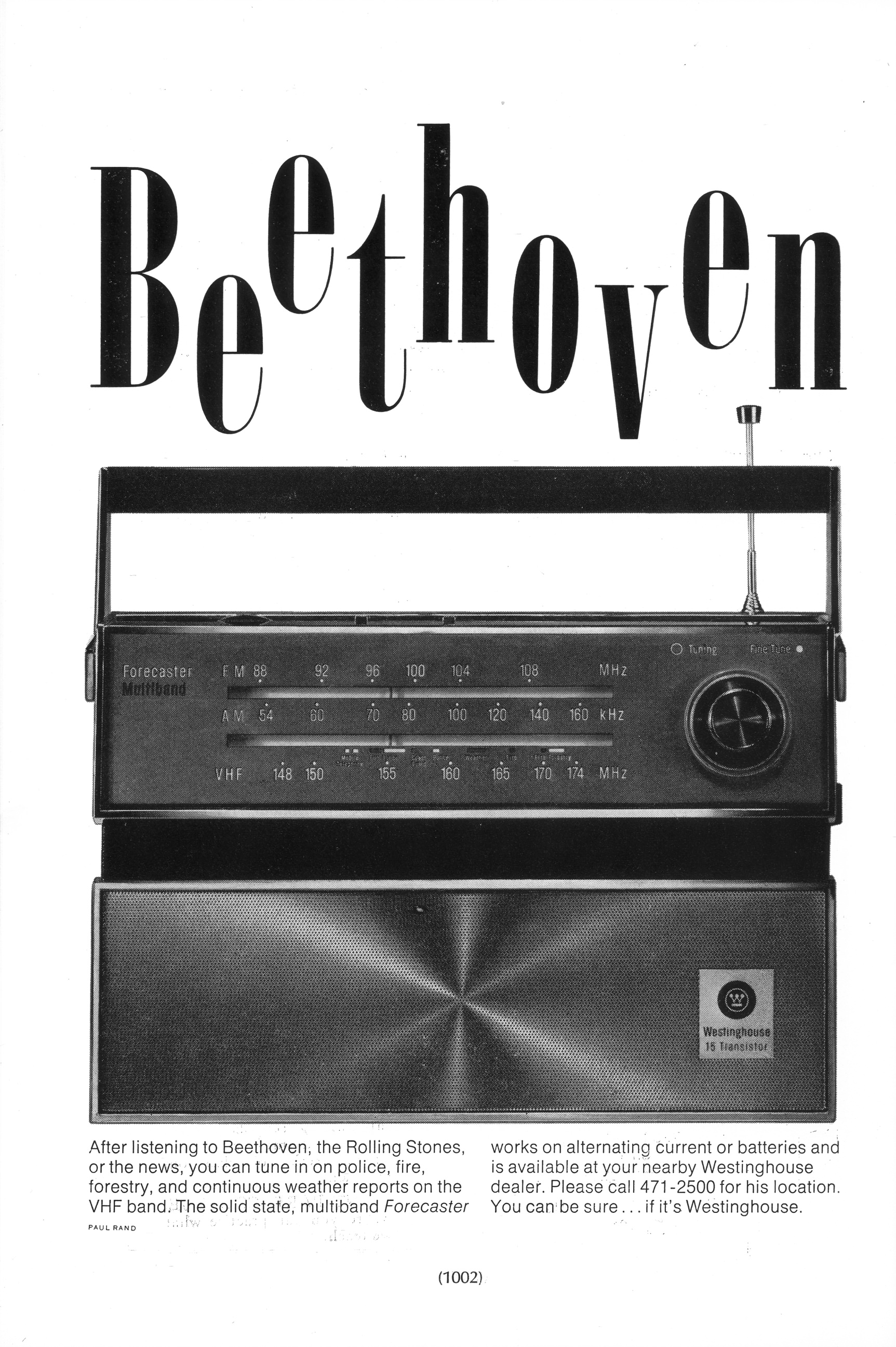 """""""Beethoven"""" ad for Westinghouse"""