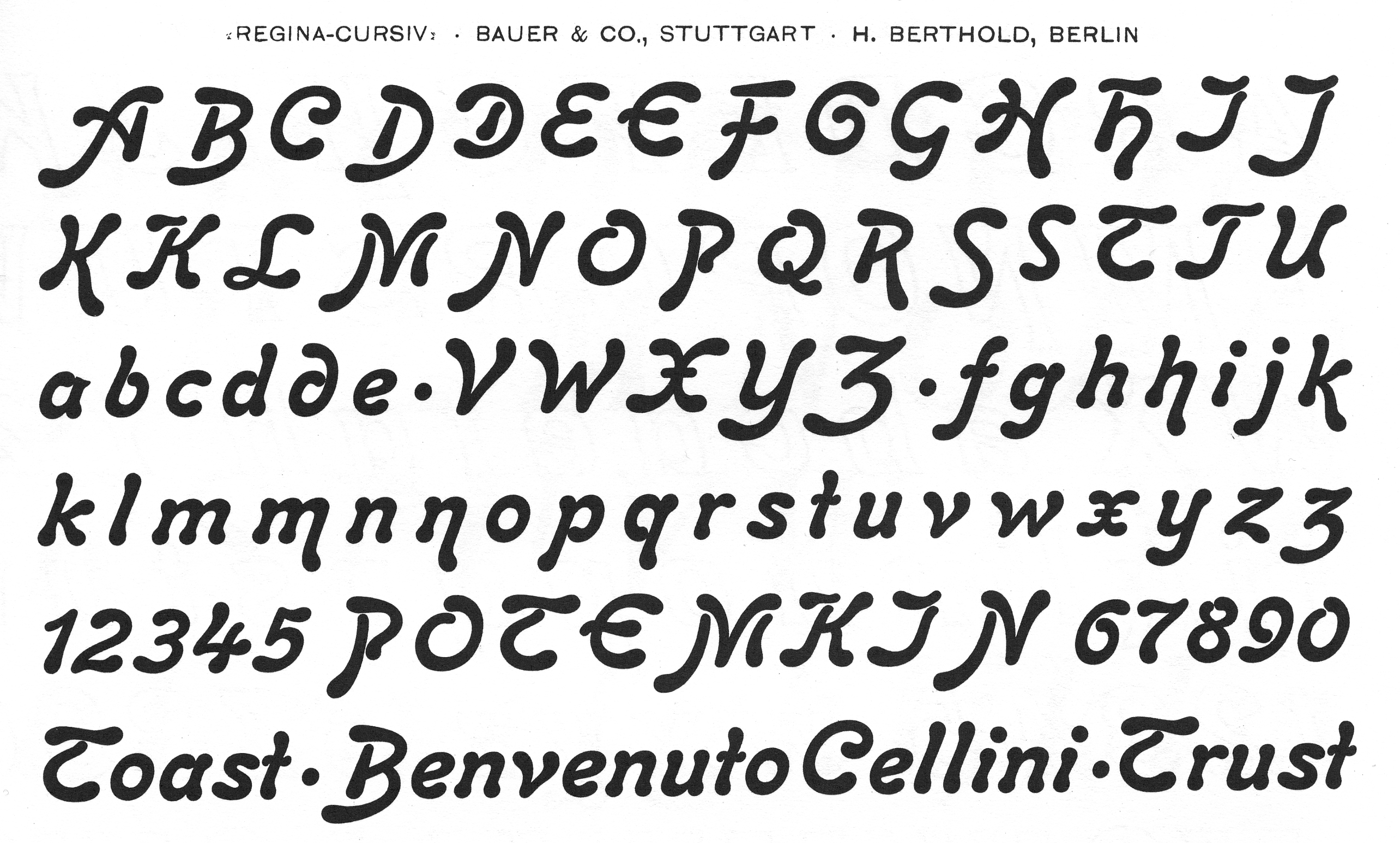 Glyph set of Regina-Cursiv