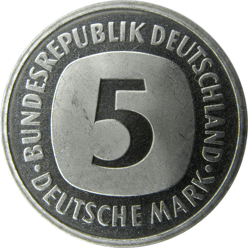 1987 5-mark coin, lettering side