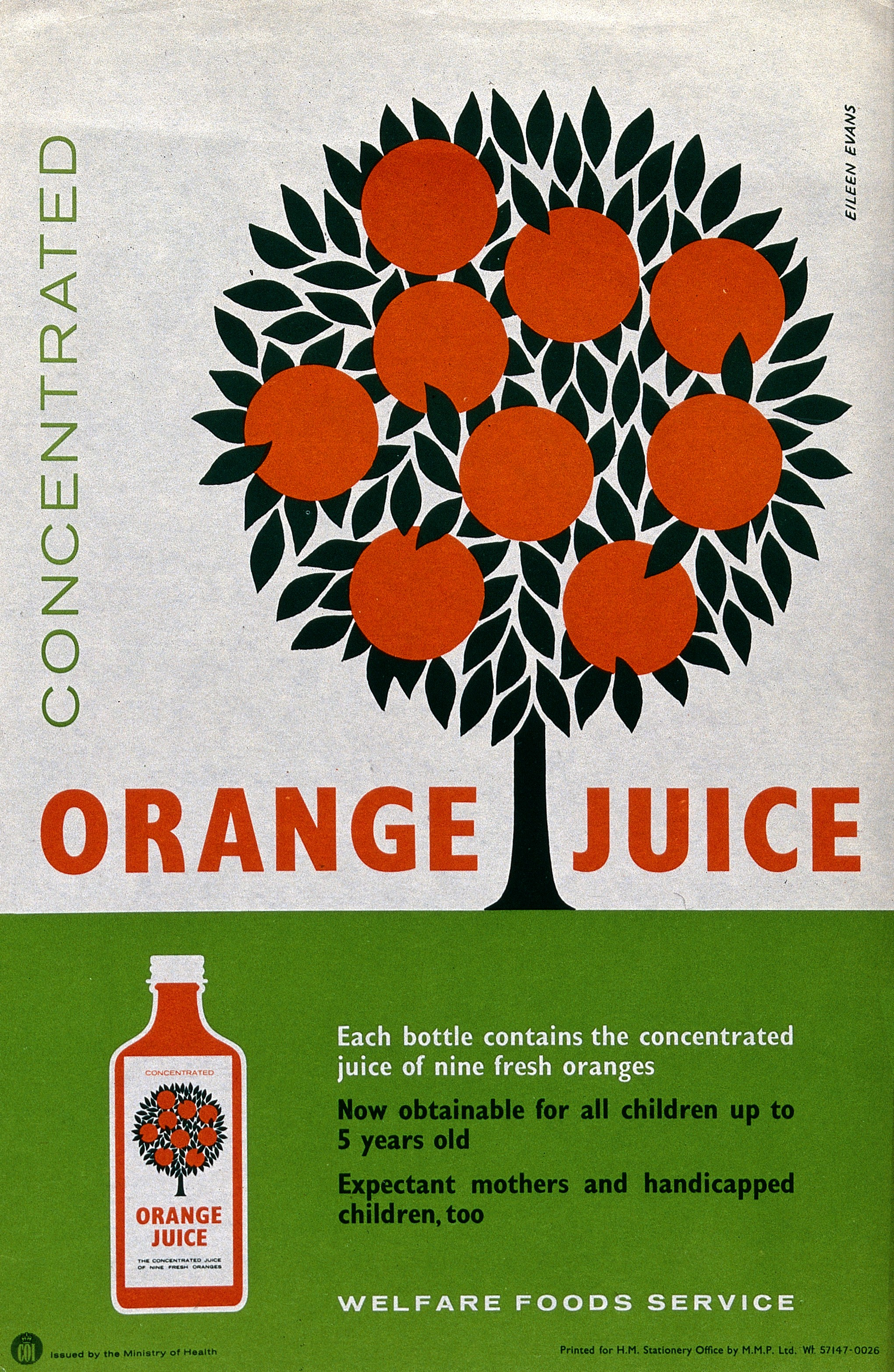 Leaflet showing oranges on a tree and explaining how orange juice contains vitamins.