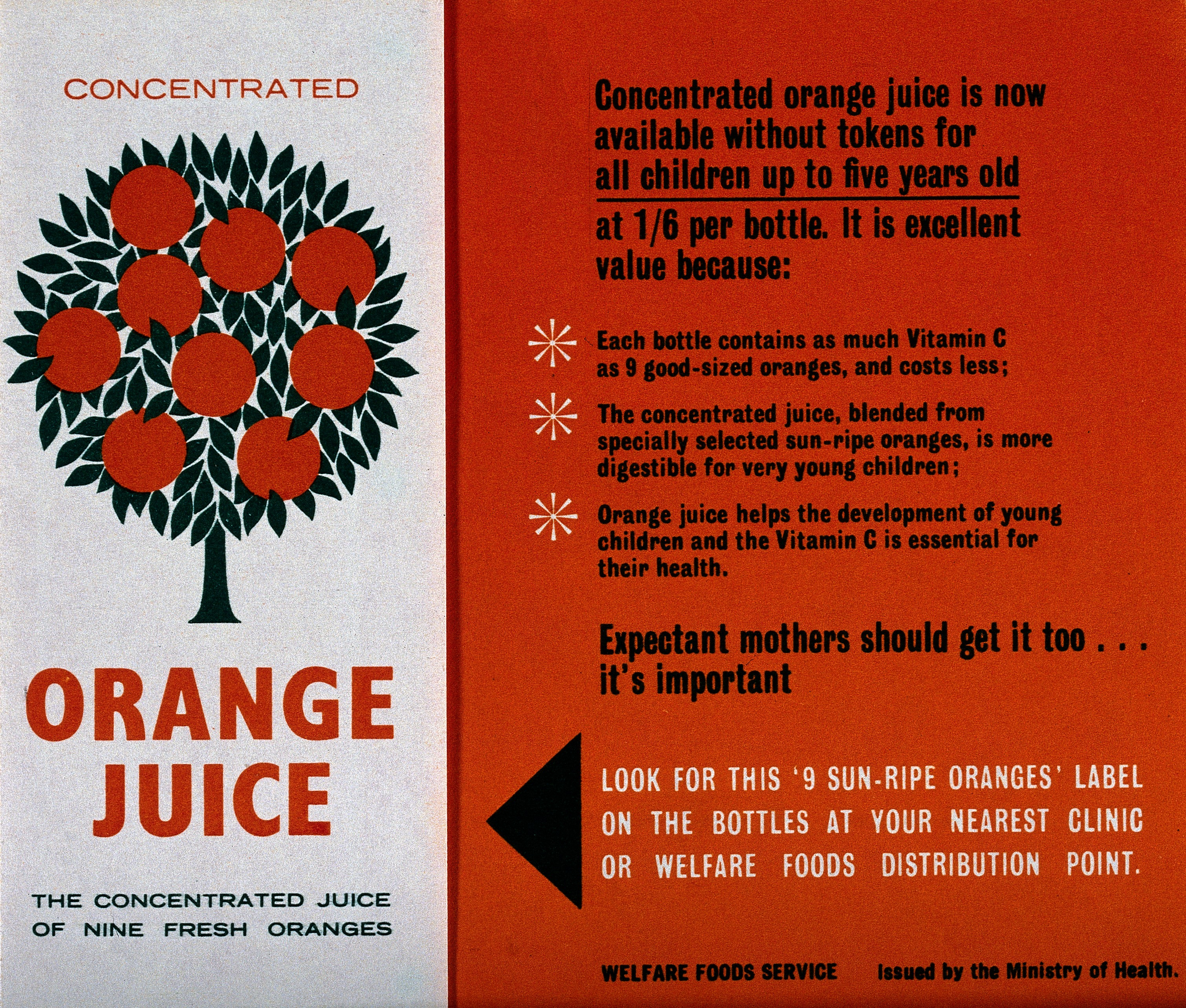 A leaflet explaining why children should get orange juice. Uses an 'fi' ligature too for some reason.
