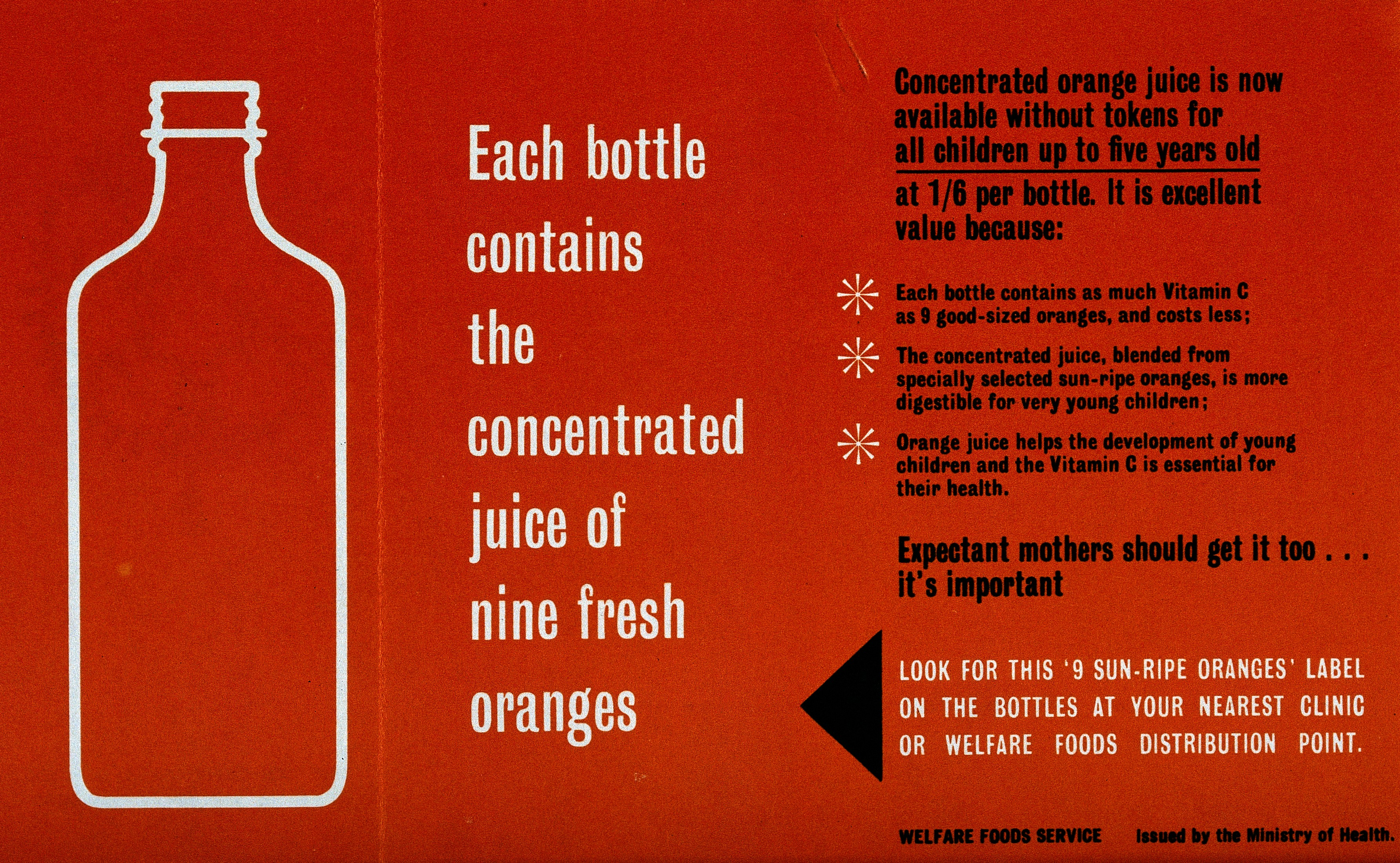 A leaflet explaining why children should get orange juice.