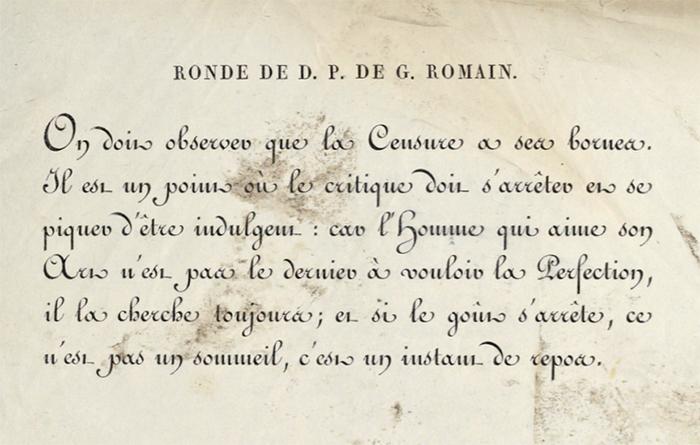 Ronde in a specimen by Gillé, 1808