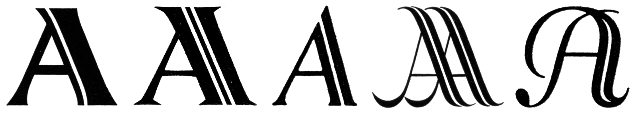 A-volution — from left to right: Atrax (1926), Metropolis licht (1928), Adastra (1928), Advertising Arts logo (1930), Schwung-Adastra (1931)