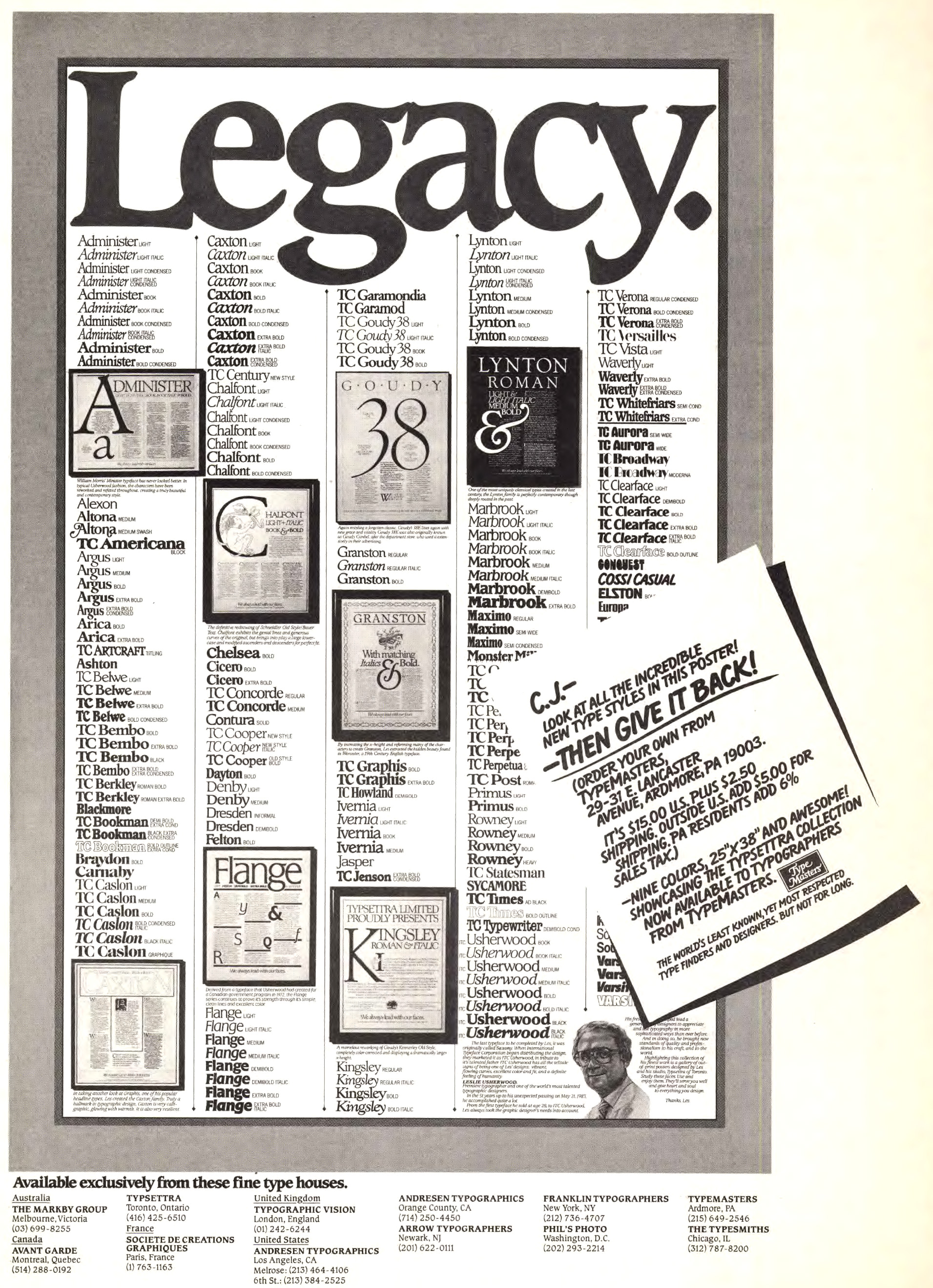 "Les Usherwood ""Legacy"" poster, advertised by TypeMasters, Inc., 1984"