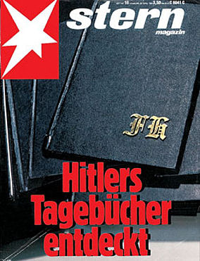 "The forged Hitler diaries, with initials ""FH"" in blackletter."