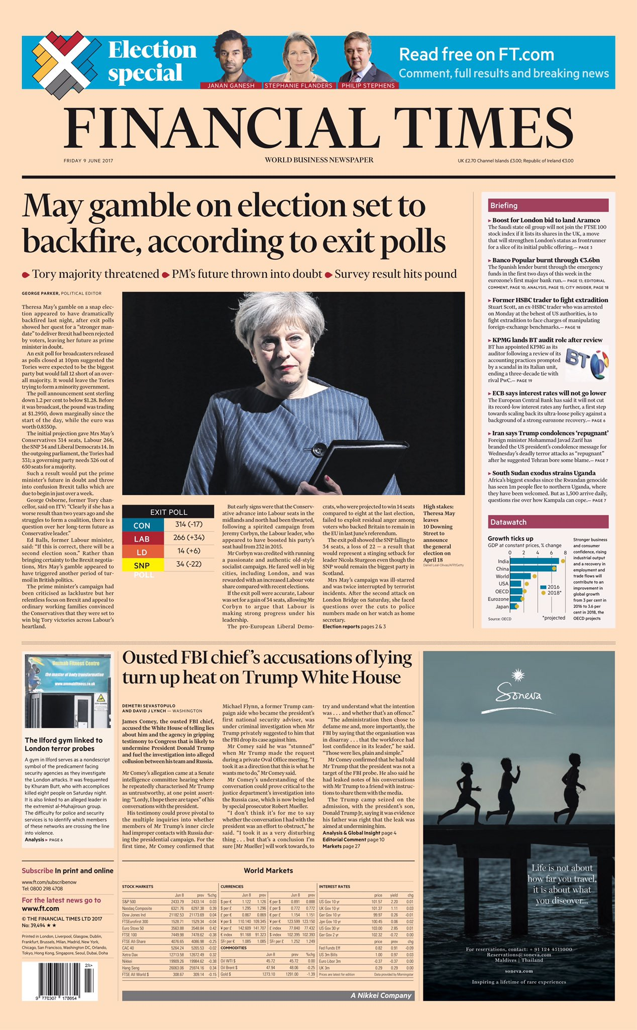 the cover of the financial times, UK GE 2017