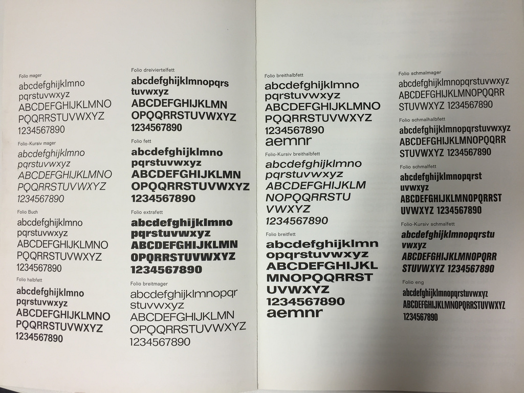 Bauer Folio inside spreads, newer specimen (left in side by side photo)