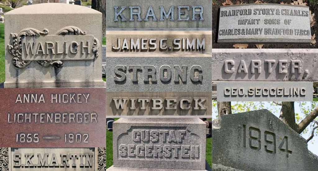 Graceland Cemetery Lettering