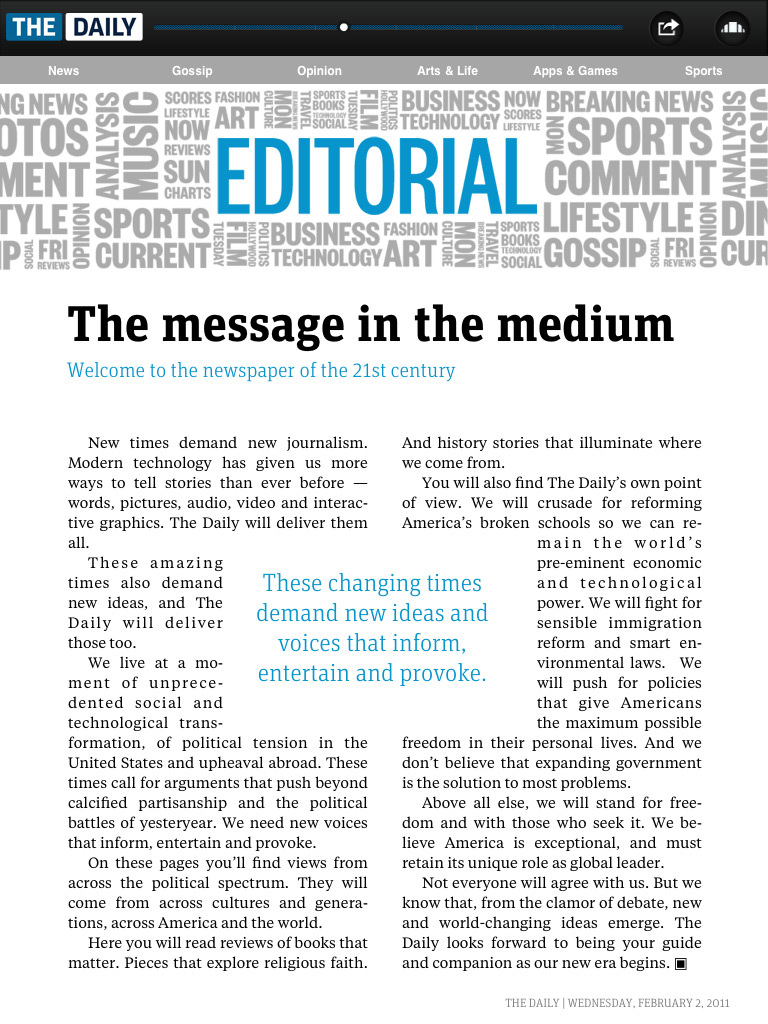 Example of an Editorial Page http://fontsinuse.com/uses/31/the-daily